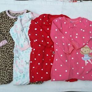 Carter's | lot of 4 footie fleece pajamas Sz 2T